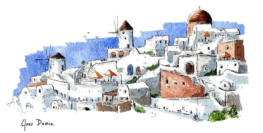 Oia, original watercolor of Santorini