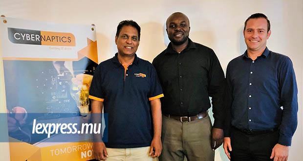 (De g. à dr.) Viv Padayatchy, Managing Director de Cybernaptics, aux côtés de Collins Omondi et Peter McLachlan, Business Developer et Head of International Sales de Cybernaptics Africa.