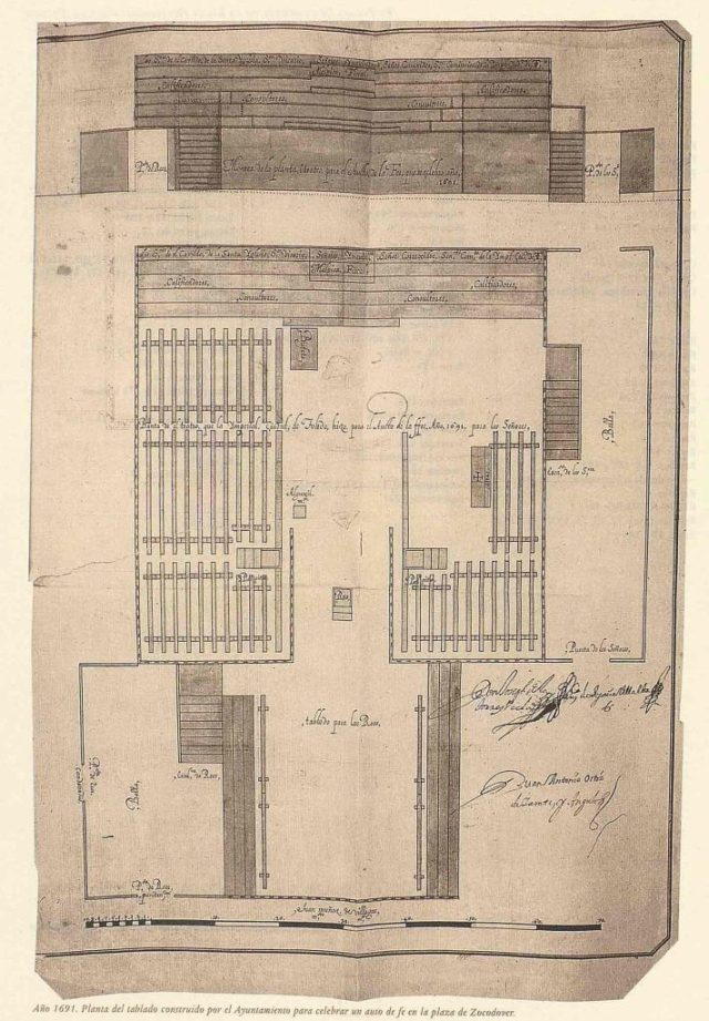 Año 1691. Planta del tablado construido por el Ayuntamiento para celebrar un auto de fe en la plaza de Zocodover.
