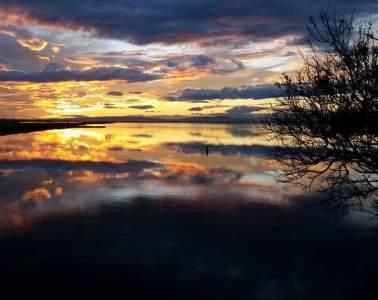 coucher de soleil photo lac