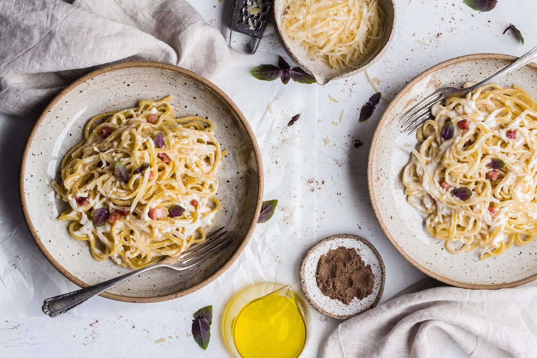 Meat-free spaghetti carbonara