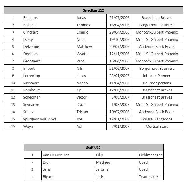 Sélection U12 baseball