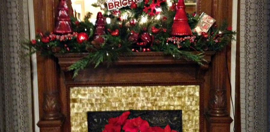fireplace christmas - Library Christmas Decorations