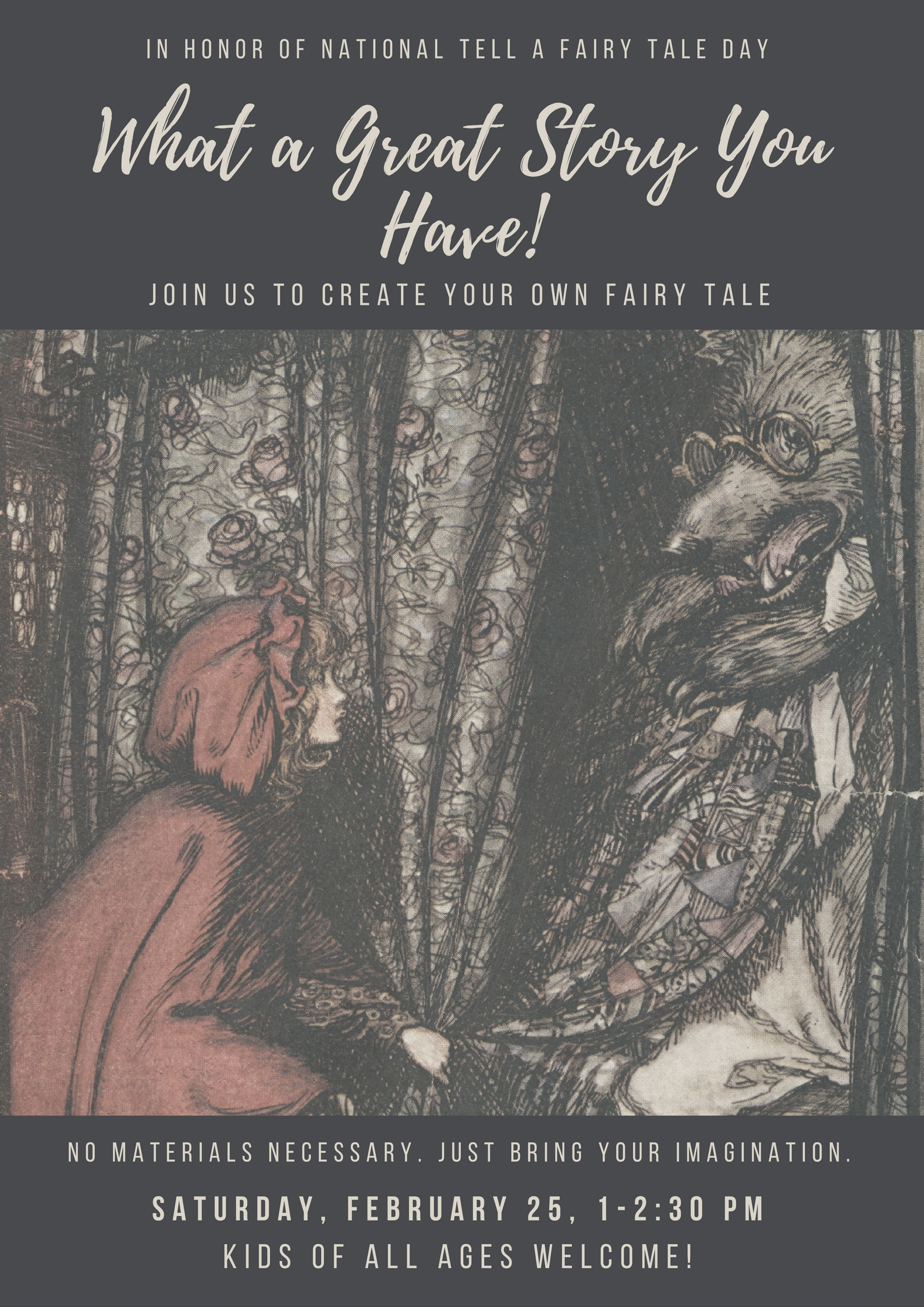 create your own fairy tale th the little falls 25th at 1pm to participate in this program for children of all ages children will be creating their own
