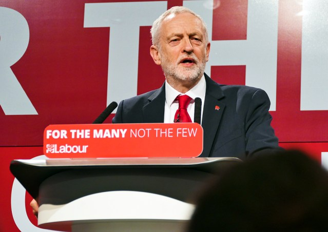 Leader of the Labour Party, Jeremy Corbyn speaking about his manifesto launch on May 2017. Image: Commons.wikimedia.org | Sophie Brown