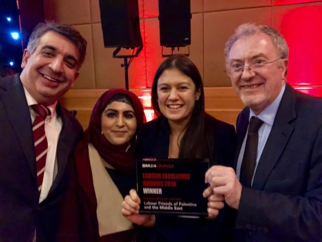 Members of the Executive Committee, Mark Mcdonald, Shazia Arshad, Richard Burden MP and Chair Lisa Nandy MP are seen accepting the SME 4 Labour Award at the Park Plaza.