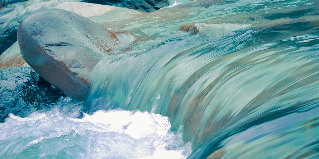 Closeup of Blue River Water - Earth Day & Water Day: Take time to reflect
