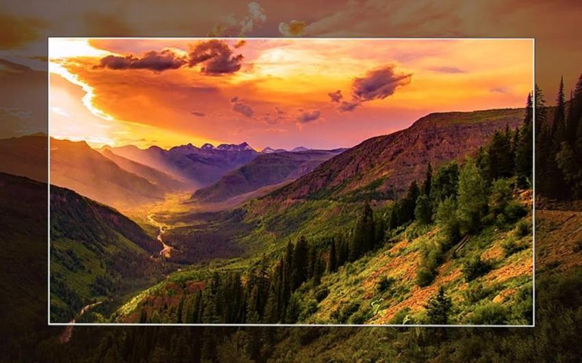 A simulated image of lg oled tv presenting a remarkable picture quality.