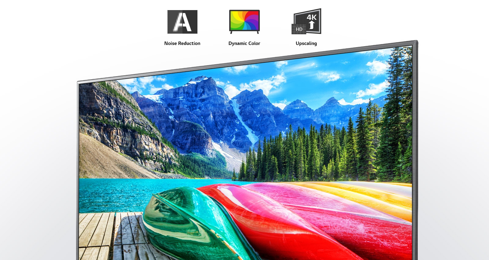 Noise reduction, dynamic colour, and upscaling icons and a TV screen showing  a scenic shot of mountains, forest, and a lake.