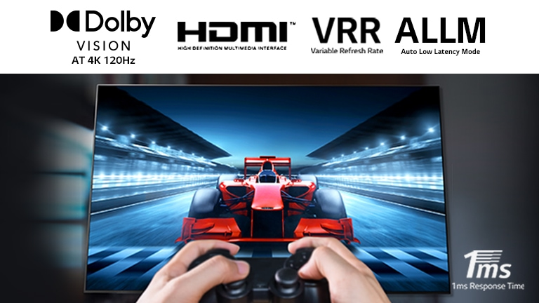 A close up of a player playing a racing game on a TV screen. On the image, there are Dolby Vision logo, HDMI logo, VRR logo, and ALLM logo on the top and 1ms Response Time logo on the bottom right.