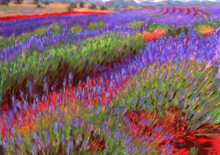 """© Laura Gabel, """"Lovelock's Lavender"""". Pastel on UArt, framed with a black mat and frame, 10 1/2 x 13 1/2. $725.00."""