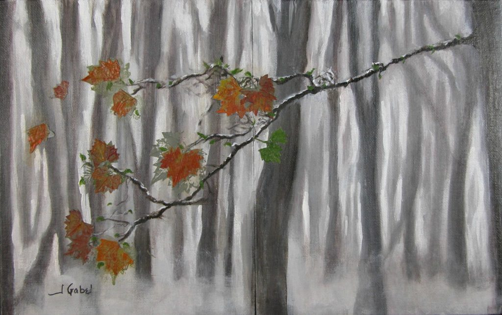 """© Laura Gabel, """"New LIfe Ps. 92:14"""". Acrylic on canvas, 29.25 x 23. $850."""