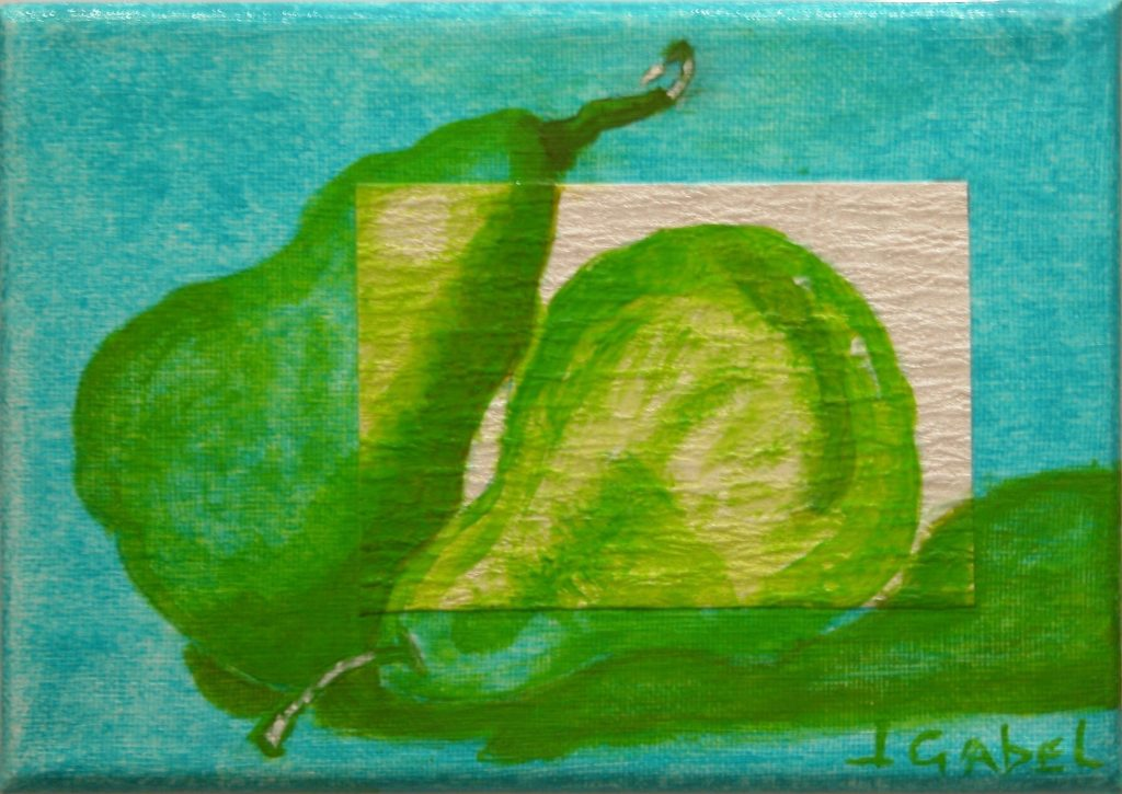 """© Laura Gabel, """"Pear Gem 2"""". Acrylic and canvas, 5 x 7 Private collection."""