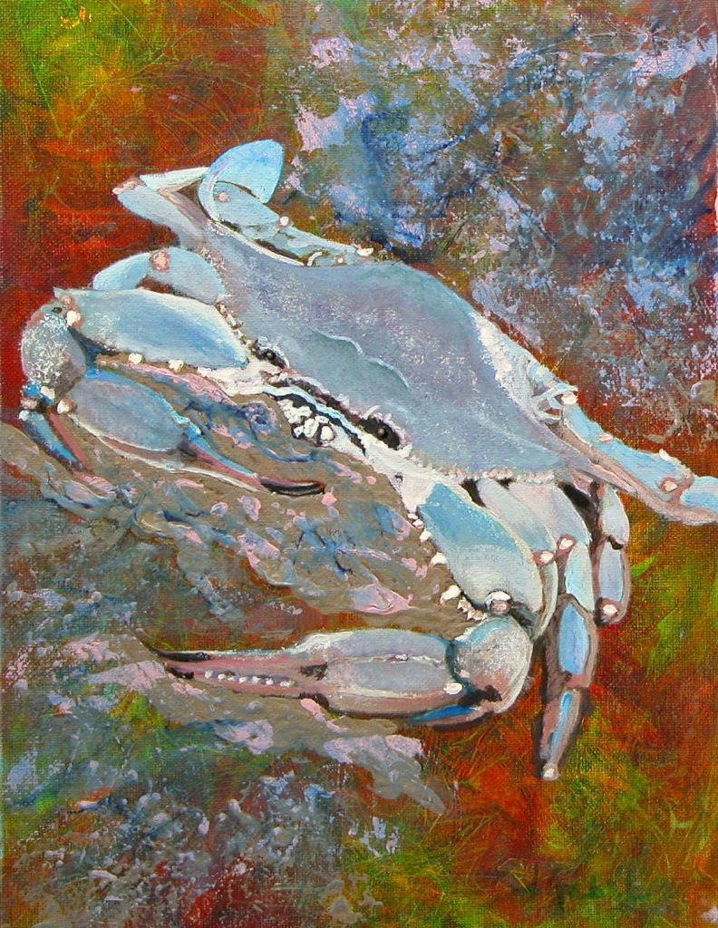 """© Laura Gabel, """"Austin Blue Crab"""". Acrylic, 13.5 x 16.5. Private collection."""