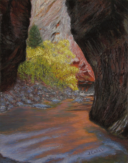 """© Laura Gabel, """"Apricot Canyon 1"""". Textured pastel, 16 x 20. Private collection. challenge blog"""