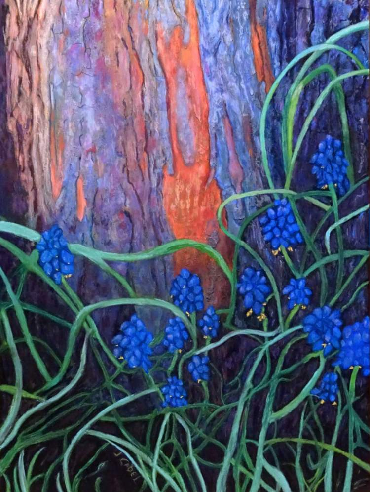 "© Laura Gabel, ""Bark and Bluebells"". 22.5x29, pastel. $2500. Creation speaks"