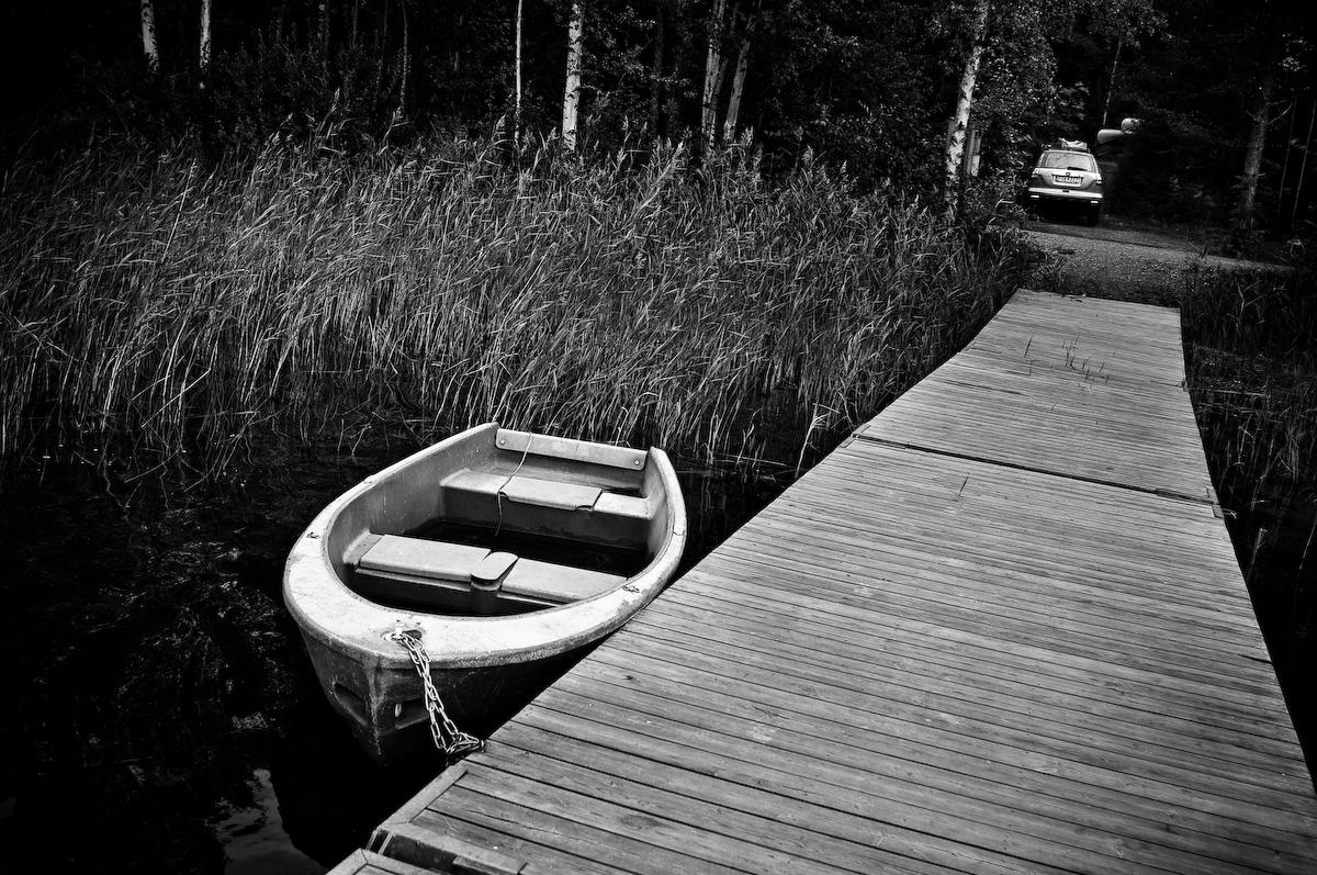 Båt i Nydalasjön, Umeå, Fotograf Lars-Göran Norlin