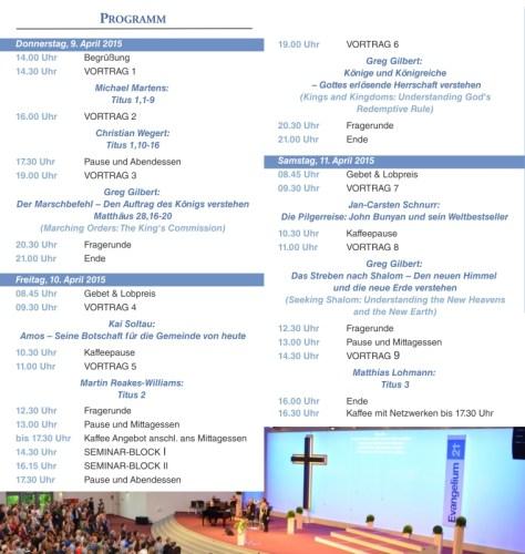 Programm Evangelium21-Konferenz 2015