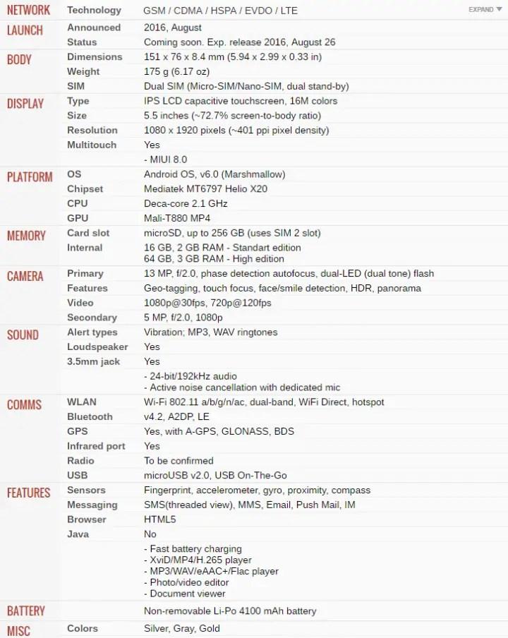 Xiaomi Redmi Note 4 Full phone specifications