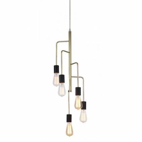 magnifique lustre igmar marque athezza luminaire a suspendre plafonnier 5 lampes ampoule laiton dore 25x25x120cm