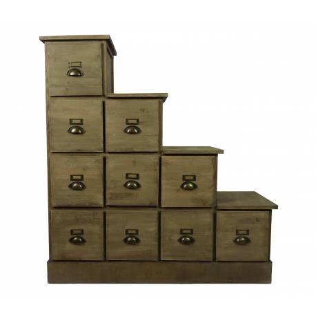 grand meuble escalier droit a chaussures semainier en bois 4 colonnes chiffonnier de rangement sous pente 38x108x117cm