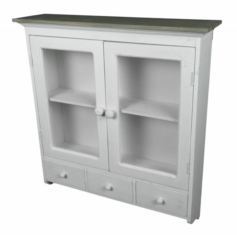 etagere de rangement ou a epices murale vitree facon armoire a pharmacie avec tiroirs bois blanchi
