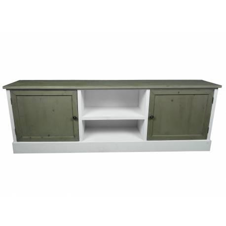 meuble tv tele console de salon grand meuble bas de rangement etageres placards en bois patine blanc 32 5x53x155cm