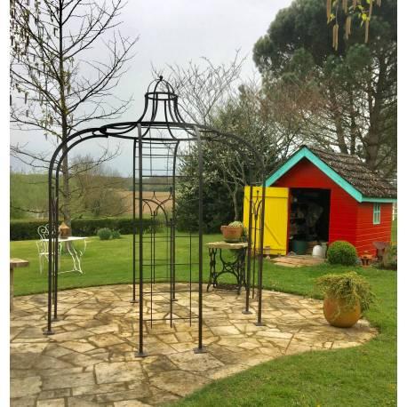 gloriette princess small tonnelle en fer forge pergola de jardin abris rond en acier peinture epoxy marron martele 250x250x300cm