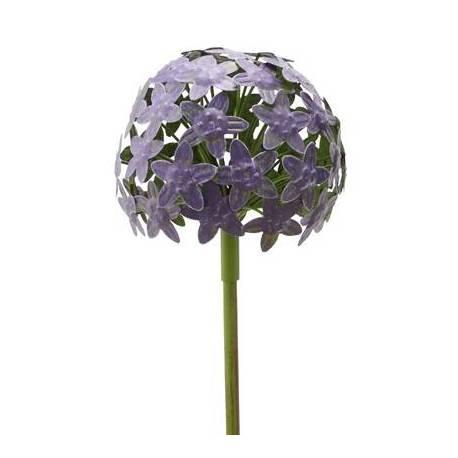fleur d allium sur tige decoration florale pour jardin massif ou pot de fleur en metal colore vert et violet 16x16x111cm