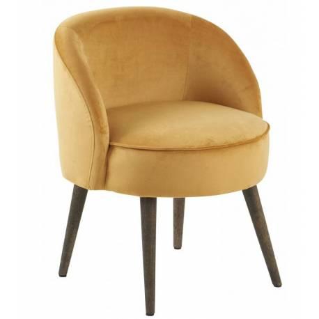 fauteuil de salon honore chaise basse hanjel en velours tournesol 54x54x64cm