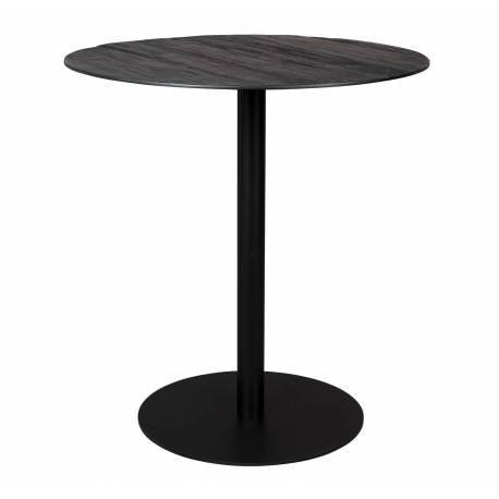 mange debout braza dutchbone table haute ronde bar design industriel vintage en acier et bois noir 75x93cm