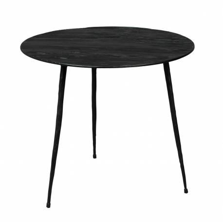 table basse noire pepper dutchbone console tablette de salon forme ronde bois 35x35x40cm