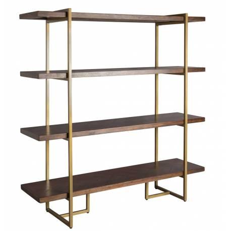 etagere class colonne de rangement salon design industriel vintage en acier laiton dore et bois acacia 40x140x146cm
