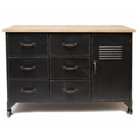 bahut industriel style casier meuble rangement tiroir buffet usine en metal gris noir et bois 41x76x107 5cm