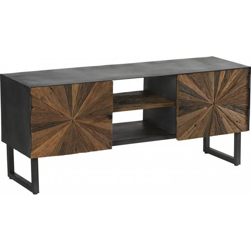 meuble tv morzine hanjel console d appoint salon 2 placards 2 etageres industrielle en bois brut et acier noir 40x55x130cm