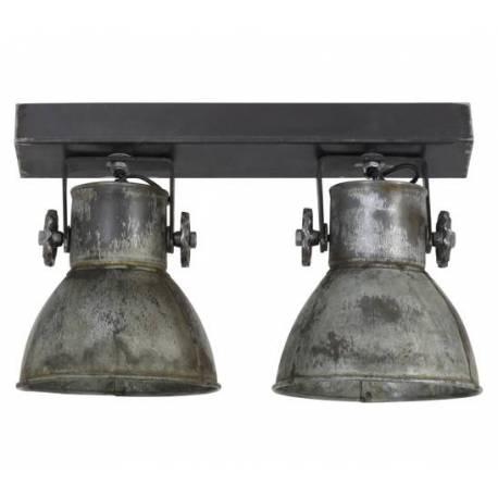 luminaire tendance elay applique ou plafonnier industriel rampe 2 spots en bois et metal patine argent vintage 18x24x42cm