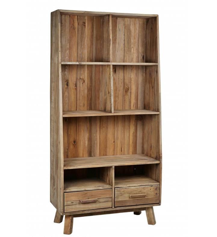 bibliotheque berry hanjel meuble de salon etagere de rangement a poser en bois 40x90x182cm