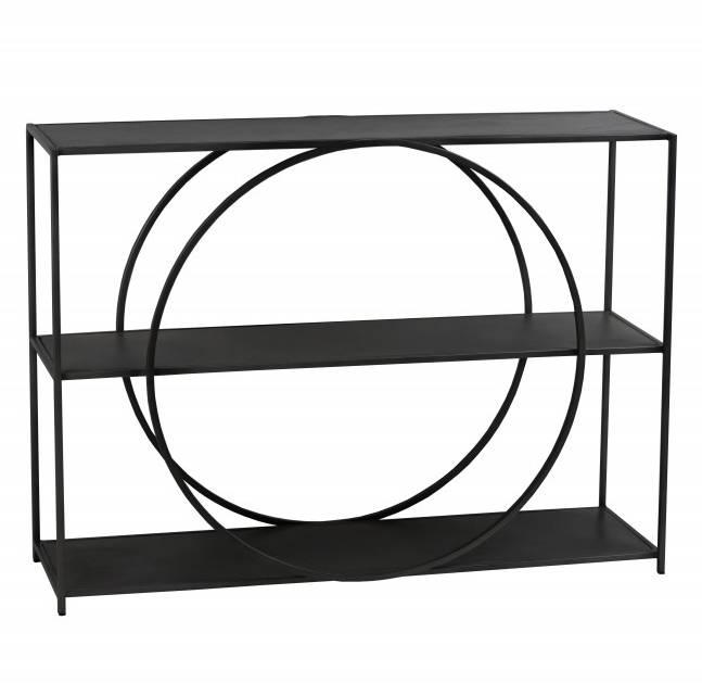 console cercle hanjel bahut etagere design en metal noir 33x80x110cm