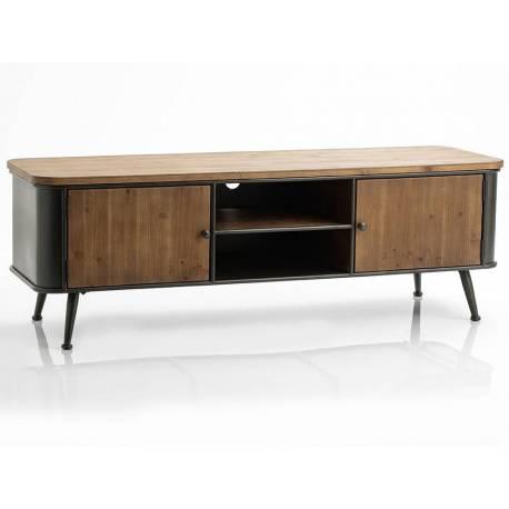 meuble tv eugene amadeus console tele de salon en bois et metal 48x50x146cm