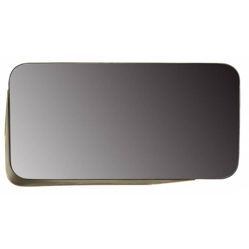 miroir corner horizontal athezza glace rectangulaire murale d angle en metal dore 15x36 5x71 5cm