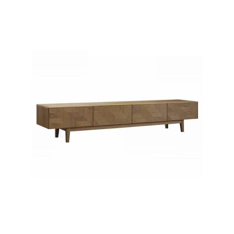 meuble tv kiruna 4 tiroirs athezza meuble de rangement tele hifi en bois naturel 40x40x210cm