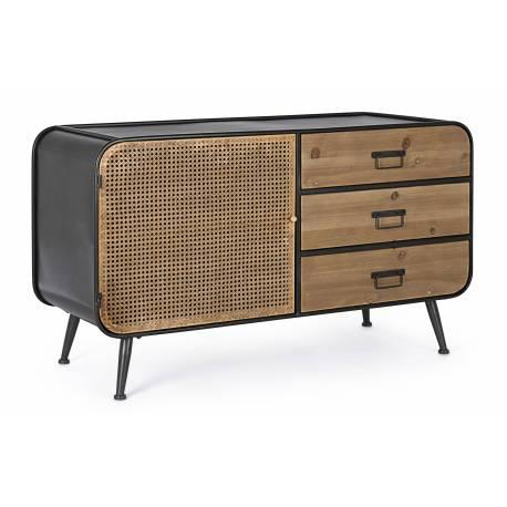 commode 1 volet 3 tiroirs elton meuble de rangement en bois et acier noir et marron effet cannage en rotin 47x68x118cm