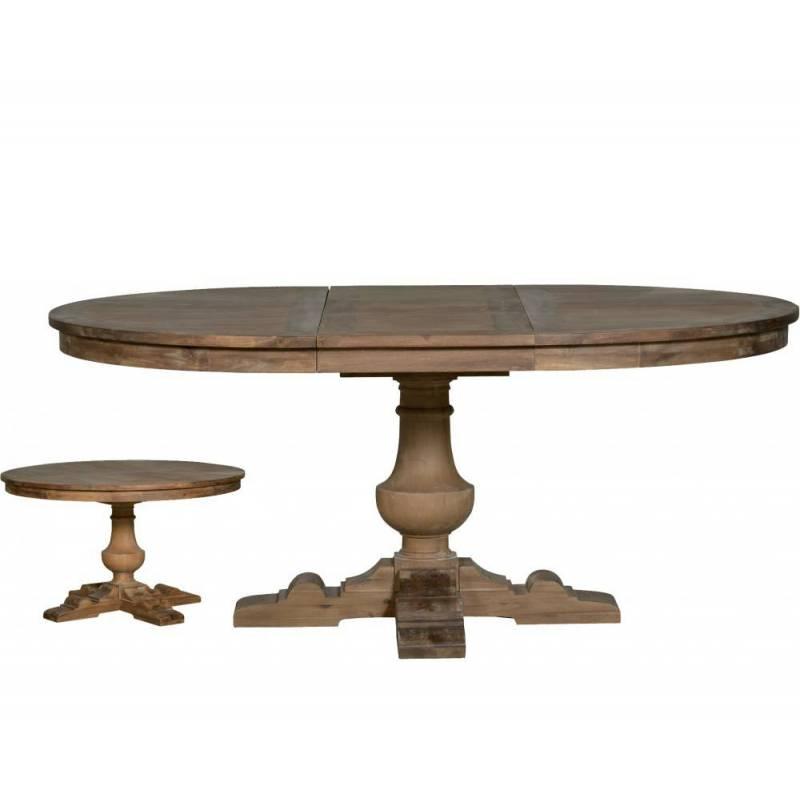 magnifique table ronde sauzon de salle a manger de 6 a 8 personnes avec rallonge en acacia massif 76x132 5x132 5cm