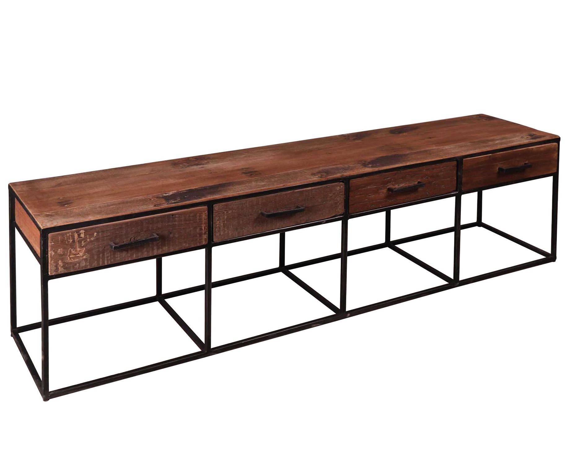 meuble tv float 4 tiroirs hinsk console basse meuble de rangement indus en bois et acier 40x50x180cm