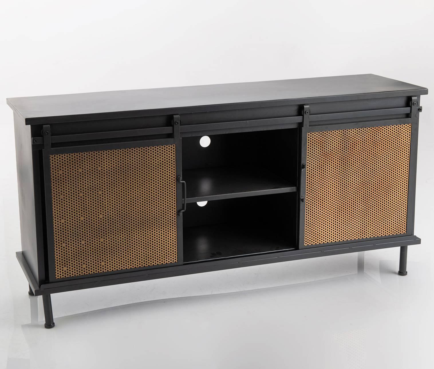 buffet portes coulissantes grillage amadeus bahut meuble tv en metal noir et marron 38x67x135cm
