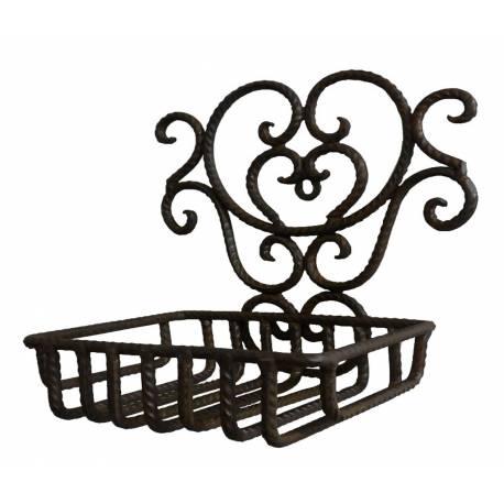 porte savon rectangulaire mural ou support a savonnette panier a poser en fer patine marron 11x16 5x17cm