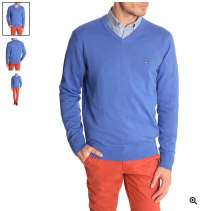 Pull Col V Pacific Coton Dazzling Blue