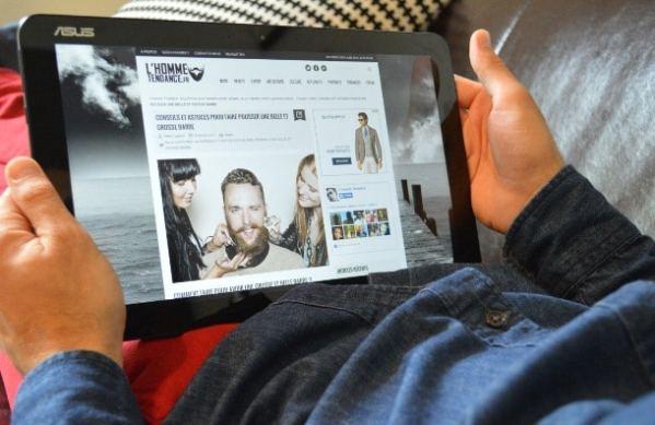 Surf sur l'HommeTendance.fr avec la tablette ASUS T300 Chi