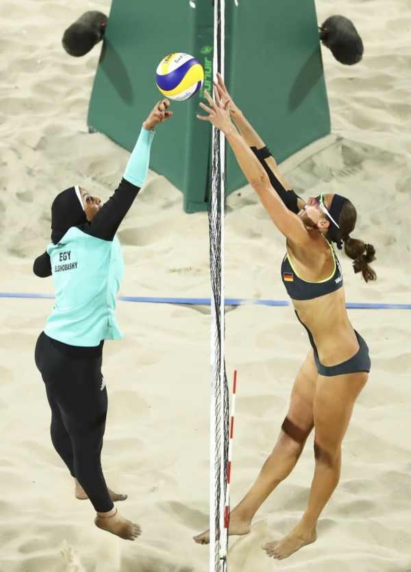 beach-volley opposant l'Egypte à l'Allemagne Rio 2016