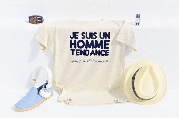 """T-shirt """"Je suis un homme tendance ... enfin j'y travaille tous les jours"""""""